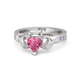 Heart Pink Tourmaline Sterling Silver Ring with Iolite & Pink Sapphire