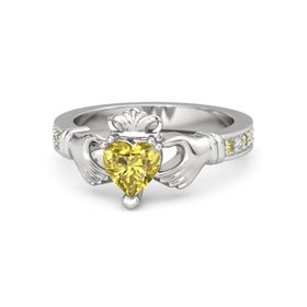 Heart Yellow Sapphire Sterling Silver Ring with Yellow Sapphire and Diamond