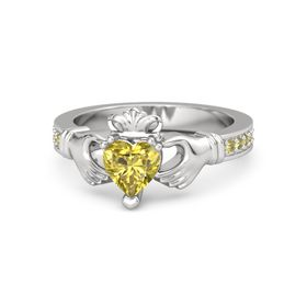 Heart Yellow Sapphire Sterling Silver Ring with Yellow Sapphire