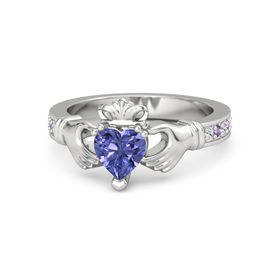 Heart Tanzanite Sterling Silver Ring with White Sapphire & Amethyst