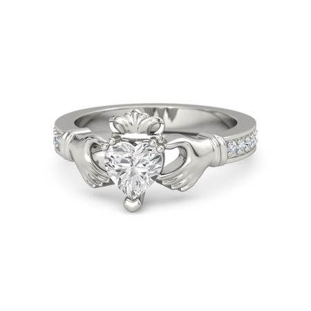 119a49fb522e5 Claddagh Ring - Heart White Sapphire 14K White Gold Ring with Diamond