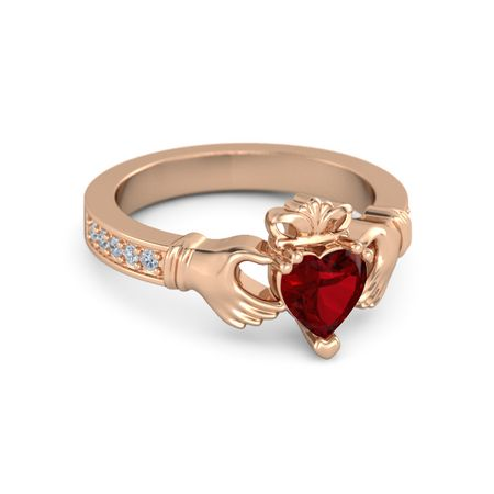 Heart Ruby 14k Rose Gold Ring With Diamond Claddagh Ring