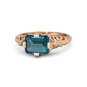 Emerald-Cut London Blue Topaz 14K Rose Gold Ring