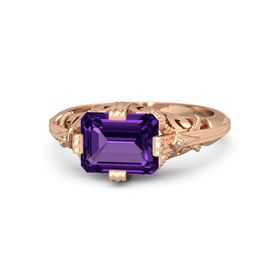 Emerald-Cut Amethyst 14K Rose Gold Ring