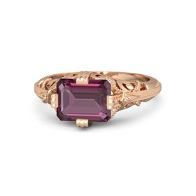 Emerald-Cut Rhodolite Garnet 14K Rose Gold Ring