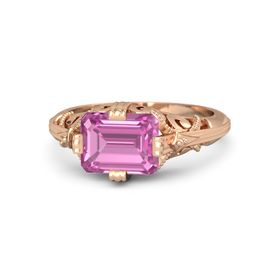 Emerald-Cut Pink Sapphire 14K Rose Gold Ring