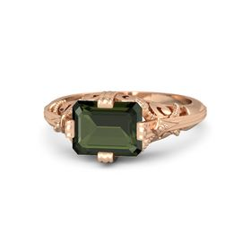 Emerald-Cut Green Tourmaline 14K Rose Gold Ring