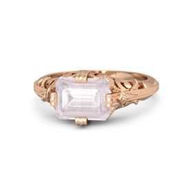 Emerald-Cut Rose Quartz 14K Rose Gold Ring