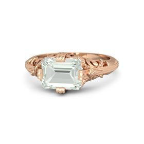 Emerald-Cut Green Amethyst 14K Rose Gold Ring