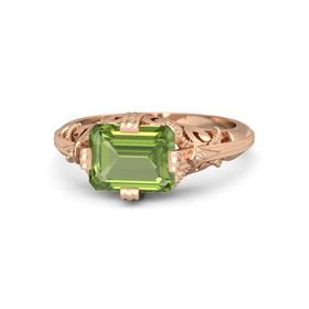 Emerald-Cut Peridot 14K Rose Gold Ring