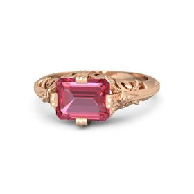 Emerald-Cut Pink Tourmaline 14K Rose Gold Ring