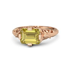 Emerald-Cut Yellow Sapphire 14K Rose Gold Ring