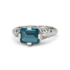 Emerald-Cut London Blue Topaz 14K White Gold Ring