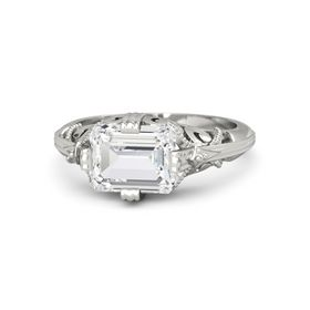 Emerald-Cut White Sapphire 14K White Gold Ring