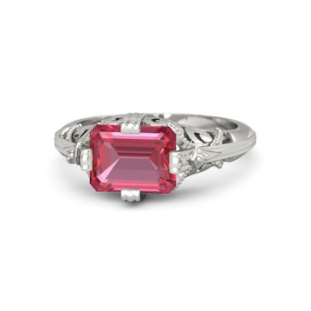 emerald cut pink tourmaline 14k white gold ring acadia