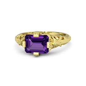 Emerald-Cut Amethyst 14K Yellow Gold Ring