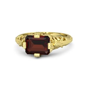 Emerald-Cut Red Garnet 14K Yellow Gold Ring