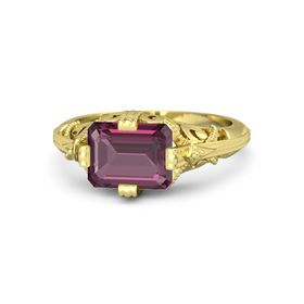 Emerald-Cut Rhodolite Garnet 14K Yellow Gold Ring