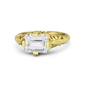 Emerald-Cut White Sapphire 14K Yellow Gold Ring