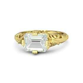 Emerald-Cut Green Amethyst 14K Yellow Gold Ring