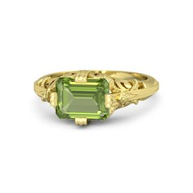 Emerald-Cut Peridot 14K Yellow Gold Ring
