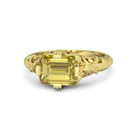emerald cut yellow sapphire 14k yellow gold ring acadia