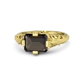 Emerald-Cut Smoky Quartz 14K Yellow Gold Ring