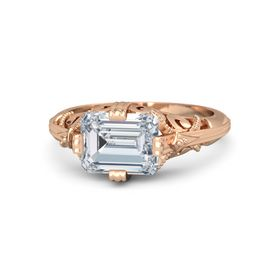 Emerald Diamond 18K Rose Gold Ring