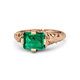 Emerald-Cut Emerald 18K Rose Gold Ring