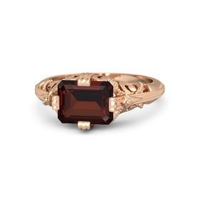 Emerald-Cut Red Garnet 18K Rose Gold Ring