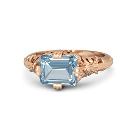 Emerald-Cut Aquamarine 18K Rose Gold Ring