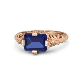 Emerald-Cut Sapphire 18K Rose Gold Ring