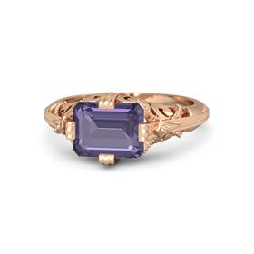 Emerald-Cut Iolite 18K Rose Gold Ring