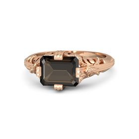 Emerald-Cut Smoky Quartz 18K Rose Gold Ring
