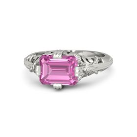 Emerald-Cut Pink Sapphire 18K White Gold Ring