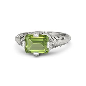 Emerald-Cut Peridot 18K White Gold Ring