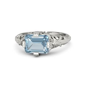 Emerald-Cut Aquamarine 18K White Gold Ring