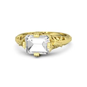 Emerald-Cut Rock Crystal 18K Yellow Gold Ring