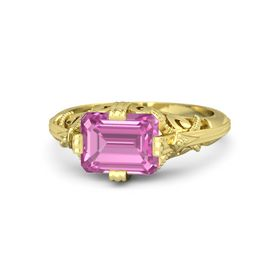 Emerald-Cut Pink Sapphire 18K Yellow Gold Ring