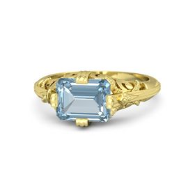 Emerald-Cut Aquamarine 18K Yellow Gold Ring