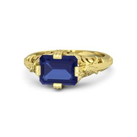 Emerald-Cut Sapphire 18K Yellow Gold Ring
