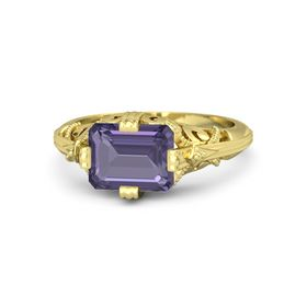 Emerald-Cut Iolite 18K Yellow Gold Ring