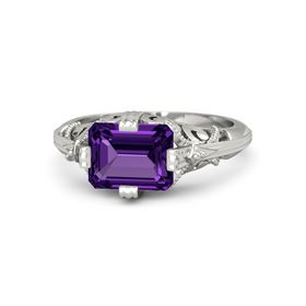 Emerald-Cut Amethyst Palladium Ring