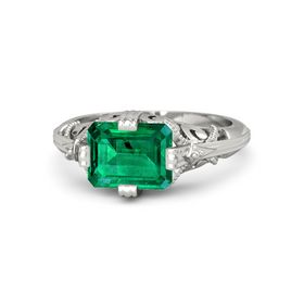 Emerald-Cut Emerald Palladium Ring