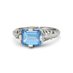 Emerald-Cut Blue Topaz Palladium Ring
