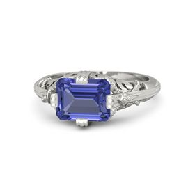 Emerald-Cut Tanzanite Palladium Ring