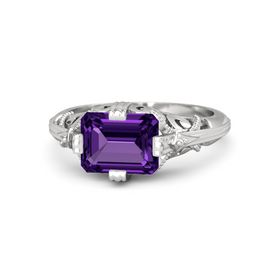 Emerald-Cut Amethyst Sterling Silver Ring