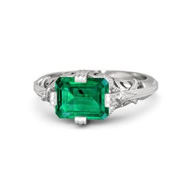 Emerald-Cut Emerald Sterling Silver Ring