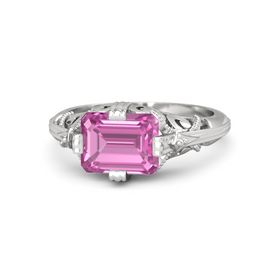 Emerald-Cut Pink Sapphire Sterling Silver Ring