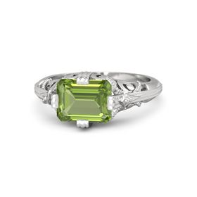 Emerald-Cut Peridot Sterling Silver Ring